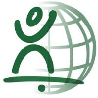 Equilibrismus-Logo: Weltkugel und balancierendes Strichmännchen
